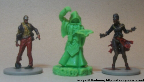 Cthulhu Wars Cultist from Petersen Games - 1:50 (35/38mm) comparison with 35mm high Zombicide Male Walker #2 and Female Walker #2.