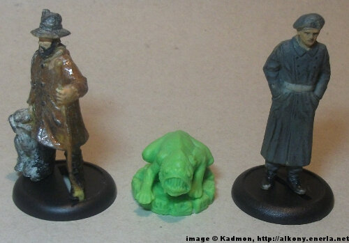 Cthulhu Wars Deep One from Petersen Games - 1:35 (54mm) comparison with 40mm high shepherd and 54mm high soldi