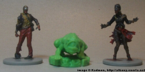 Cthulhu Wars Deep One from Petersen Games - 1:50 (35/38mm) comparison with 35mm high Zombicide Male Walker #2 and Female Walker #2.
