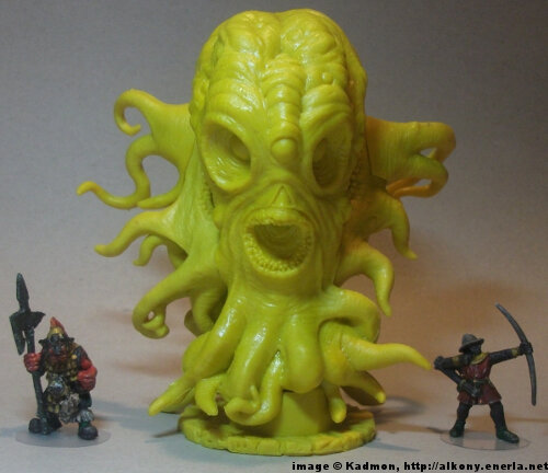 Cthulhu Wars Hastur from Petersen Games - 1:56 (28/32mm) comparison with Renegade Miniatures Orc with spear #2 (left) and Games Workshop Bretonnian Bowman #1 (right).