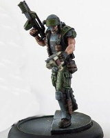 Futuristic soldier in modern armour with assault rifle and scanner (USCM Marine #2 for Alien vs Predator: The Hunt Begins) from Prodos Games - Miniature figure
