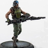 Futuristic soldier in modern armour with machine gun (USCM Marine #3 for Alien vs Predator: The Hunt Begins) from Prodos Games - Miniature figure