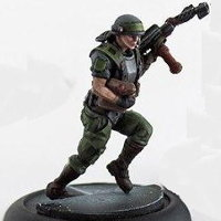 Futuristic soldier in modern armour with flamethrower (USCM Marine #4 for Alien vs Predator: The Hunt Begins) from Prodos Games - Miniature figure