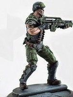 Futuristic soldier (USCM Marine #5 for Alien vs Predator: The Hunt Begins) from Prodos Games - Miniature figure