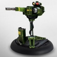 Gun on tripod in 1/56 scale - USCM Sentry Gun for Alien vs Predator from Prodos Games, 2015 - Miniature equipment review