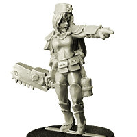Human female warrior in 1/56 scale - Nurse with Saw from Spellcrow, 2016