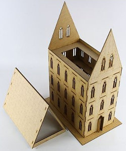 Gothic building in 1/56 scale - Gothic Building II (sloping roof) from Terrains4Games