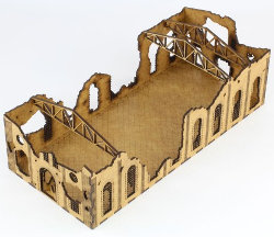 Ruin of gothic building in 1/56 scale - Ruined Large Factory from Terrains4Games