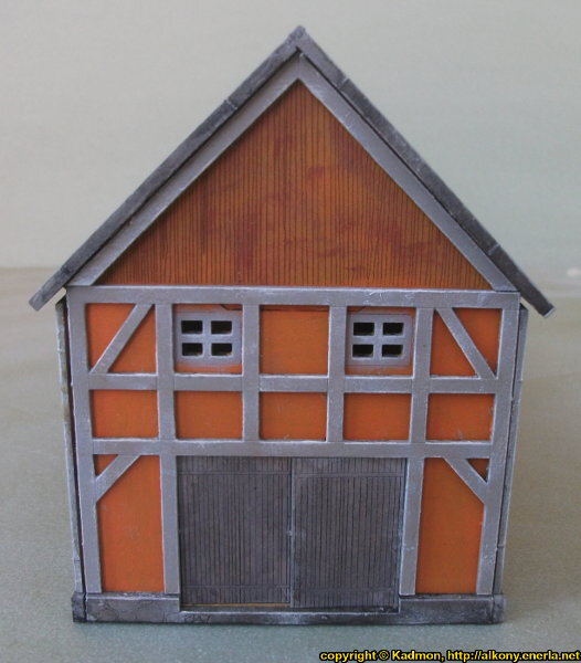 Timber frame village building in 1/56 scale - Cowshed 28mm