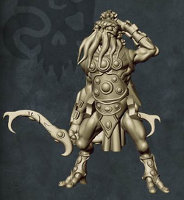 Humanoid with tentacled face with bow in 1/56 scale (C'thunian Hunter #1 for Relics) from Tor Gaming - Miniature figure review