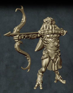 Humanoid with tentacled face with bow in 1/56 scale (C'thunian Hunter #2 for Relics) from Tor Gaming - Miniature figure review