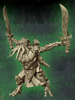 Humanoid with tentacled face with sword in both hands in 1/56 scale (C'thunian Warrior #1 for Relics) from Tor Gaming - Miniature figure review