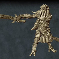 Humanoid with tentacled face with sword in both hands in 1/56 scale (C'thunian Warrior #2 for Relics) from Tor Gaming - Miniature figure review