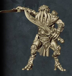 Humanoid with tentacled face with sword in both hands in 1/56 scale (C'thunian Warrior #3 for Relics) from Tor Gaming - Miniature figure review