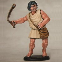 Warrior with sling in 1/56 scale - Greek Slinger build #1 for Warriors of Antiquity from Victrix - Miniature figure review