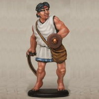 Warrior with sling in 1/56 scale - Greek Slinger build #4 for Warriors of Antiquity from Victrix - Miniature figure review