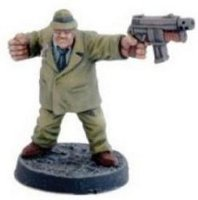 Modern gangster with submachine gun in 1/56 scale (Blitzer for the Judge Dredd Miniatures Game) from Warlord Games - Miniature figure
