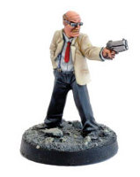 Modern gangster with handgun in 1/56 scale (Mobster Gangster for the Judge Dredd Miniatures Game) from Warlord Games - Miniature figure review