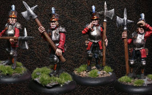 Albionnican Halberdiers (4) from Warploque Miniatures - Miniature set