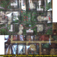 Graveyard or mansion game mat in 1/56 scale - HorrorClix Base Starter Game Set map for HorrorClix from WizKids, 2006 - Miniature scenery review