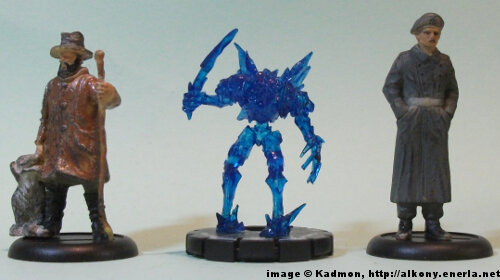 Frost Minion #012 for the Mage Knight from WizKids - 1:35 (54mm) comparison with 40mm high shepherd and 54mm high soldi