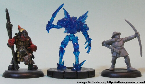 Frost Minion #012 for the Mage Knight from WizKids - 1:56 (28/32mm) comparison with Renegade Miniatures Orc with spear #2 (left) and Games Workshop Bretonnian Bowman #1 (right).