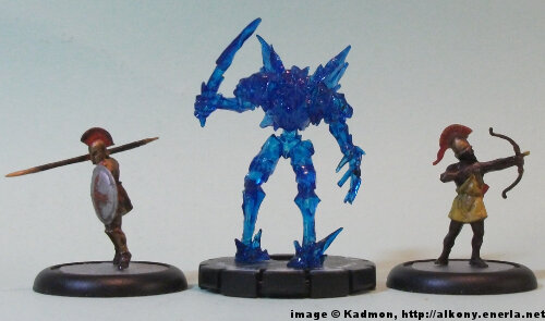 Frost Minion #012 for the Mage Knight from WizKids - 1:72 (25mm) comparison with Zvezda Greek Hoplite (left) and Zvezda Greek archer (right).