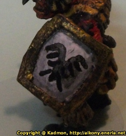 Renegade Miniatures orc with spear painted as red orc veteran - Scratchbuilt shield detail