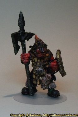 Renegade Miniatures orc with spear painted as red orc veteran