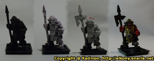 Renegade Miniatures orc with spear painted as red orc veteran - Basic painting