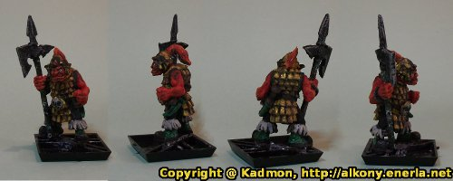 Renegade Miniatures orc with spear painted as red orc veteran - Some painting detail added
