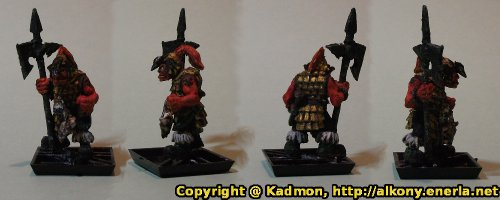 Renegade Miniatures orc with spear painted as red orc veteran - Finished miniature without shield