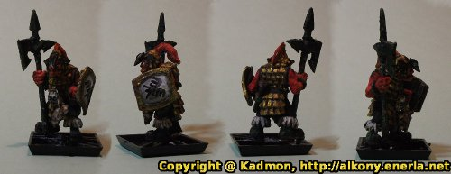 Renegade Miniatures orc with spear painted as red orc veteran - Finished miniature with shield