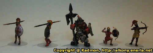 Renegade Miniatures orc with spear painted as red orc veteran - Warband